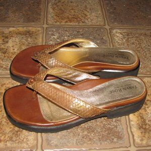 Taryn Rose Gilt Brown Leather Thong Sandals